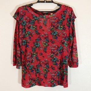 Free People Medium Red Floral Sheer Top